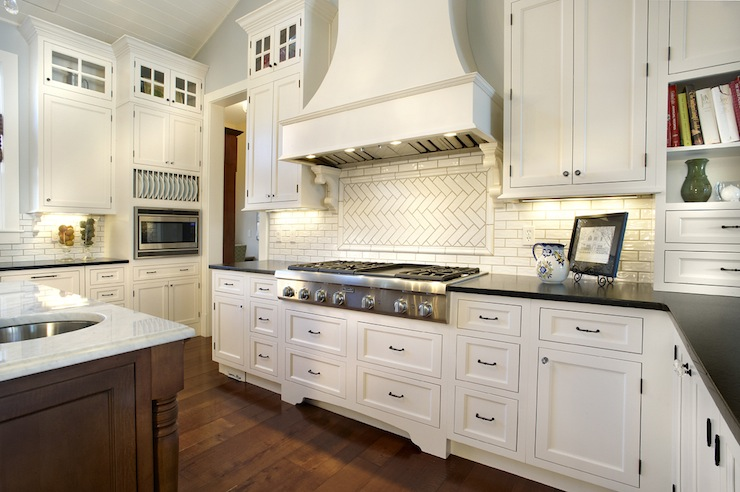 Ballwin MO Kitchen Design + Kitchen Remodeling herringbone stone backsplash