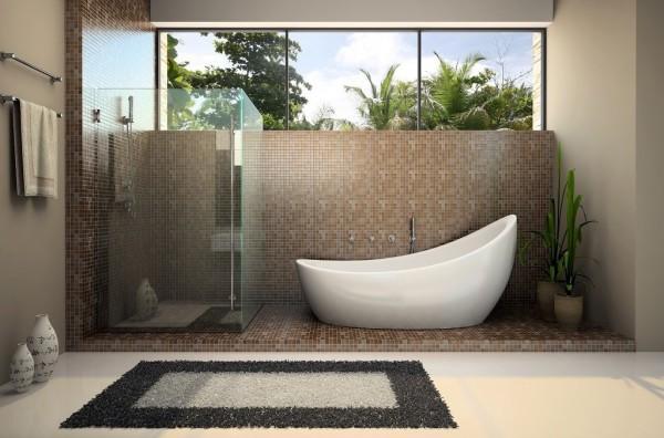 Mosaic tile glass shower surround soaking tub